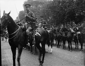 British cavalry during the First World War - A squadron from the 1st Life Guards, August 1914; possibly attached to the Household Cavalry Composite Regiment, as the Life Guards did not leave for France until September