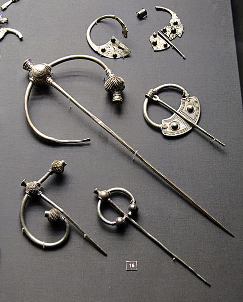Penrith hoard of silver brooches in the British Museum, from Wikimedia Commons