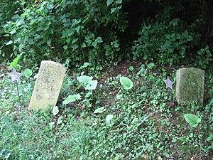 National Register of Historic Places listings in Miami County, Ohio - Image: Broken gravestones in the African Jackson Cemetery