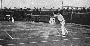 Max Decugis - Max Decugis playing at the Margitsziget court in Budapest, Hungary in 1908.