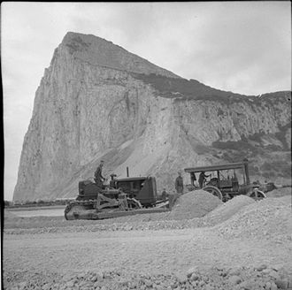 Gibraltar International Airport - A bulldozer and steamroller being used during the construction of a new aerodrome on Gibraltar, November 1941