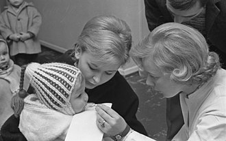Polio eradication - A child receives an early oral polio vaccine in 1967 in West Germany. After an oral vaccine was developed, it largely replaced injected vaccine in the 1960s.