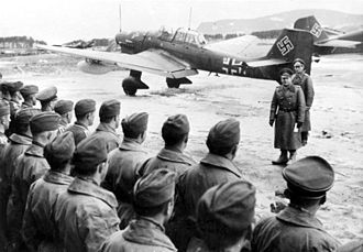 Sturzkampfgeschwader 1 - Erhard Milch addresses airmen of StG 1 in Norway. A Ju 87R is in the background