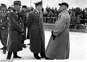 Franz Hofer - Franz Hofer (centre) at the Greater German Ski Championship Competition in February 1939.  On the right is Wilhelm Frick (executed for war crimes at Nuremberg in 1946).
