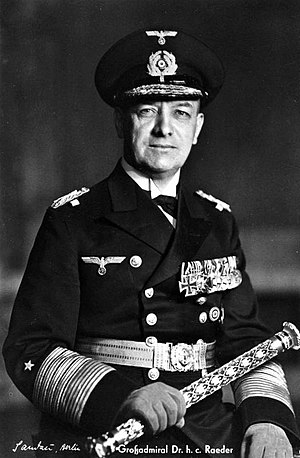 Organization of the Kriegsmarine - Erich Raeder was the longest serving commander of the Kriegsmarine, holding the post for nearly eight years, before resigning due to disagreements of naval policy with Adolf Hitler.