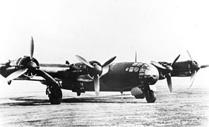 Junkers Jumo 211 - The Me 264 V1 Amerika Bomber contract competitor fitted with four unitized Jumo 211 engines, each one matching the type fitted to Ju 88As