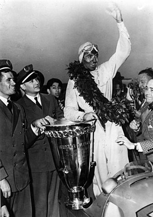 Bernd Rosemeyer - Bernd Rosemeyer with the Vanderbilt Cup (1937)