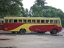 Red-and-yellow bus