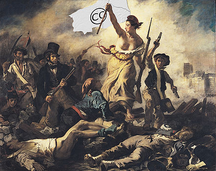 Creative Commons guiding the contributors. This image is a derivative work of Liberty Leading the People by Eugène Delacroix. CC guidant les contributeurs.jpg