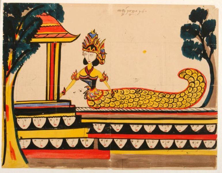 Berkas:COLLECTIE TROPENMUSEUM Aquarel voorstellende de Javaanse godin Njai Blorong TMnr 660-1.jpg
