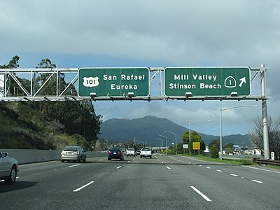 Ca-1 N and US 101 N just before the Ca-1 exits the US 101.JPG