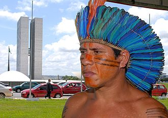 Tupi people - A Tupiniquim chief (Cacique) in Brasília, 2007