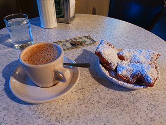 Café au lait - A café au lait and beignets served in Café du Monde, New Orleans.