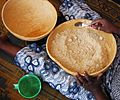 Calabash bowls - 1 hand processing millet flour, start.jpg