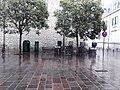 Calle San Vicente de Paul, biciletas, árboles y recogida de basuras.jpg