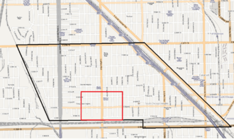 Pill Hill, Chicago - Pill Hill (red) within the Calumet Heights community area