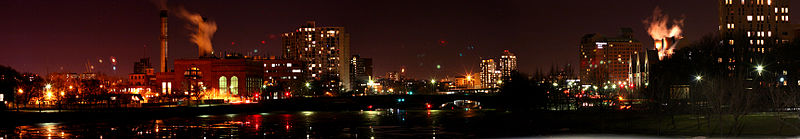 Cambridge panorama over the Charles River at night
