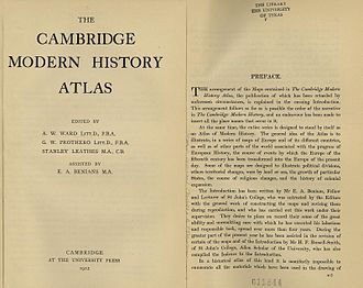 Historical atlas - The preface to the 1912 Cambridge Modern History Atlas explains the purpose of a historical atlas