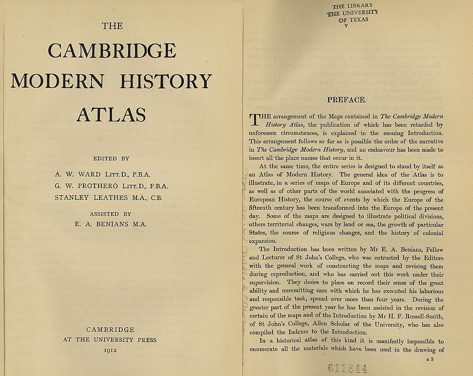 Cambridge Modern History Atlas title