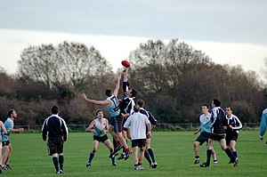 Sport in England - Cambridge and Oxford Universities play Australian rules football