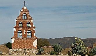 San Miguel, San Luis Obispo County, California - Image: Campanille at Mission San Miguel (cropped)