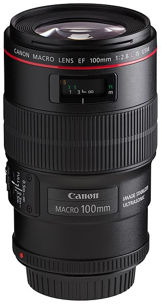 Canon EF 100mm lens - Image: Canon EF 100mm f 2.8L Macro IS USM front angled