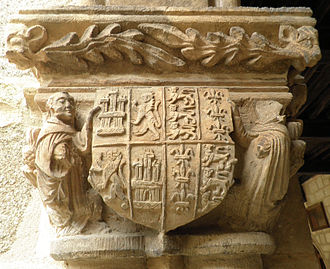 Henry III of Castile - Henry III's coat-of-arms (left) joined with his wife's and presented by two monks, as carved in a capital in Nuestra Señora de la Soterraña