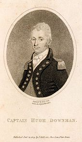 Engraving of a half length portrait in an oval of a man, facing right and looking towards the viewer. He wears a jacket and epaulettes, and the picture is inscribed 'Captain Hugh Downman'.