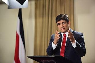 Carlos Alvarado Quesada - Alvarado speaking in 2018