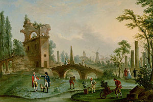 Parc Monceau - Carmontelle giving keys to Parc Monceau to the Duke of Chartres (painting by Carmontelle (1779)