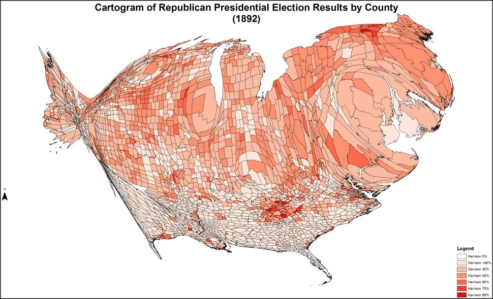 CartogramRepublicanPresidentialCounty1892Colorbrewer
