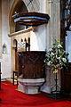 Castle Hedingham, St Nicholas' Church, Essex England, pulpit with soundboard.jpg