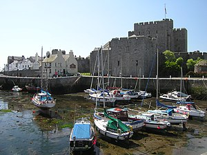 Castle Rushen, seen from across Castletown Har...