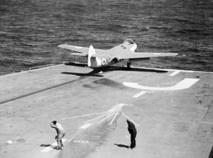 Catapult launch of Sea Hawk from HMS Eagle (R05) c1953.jpg