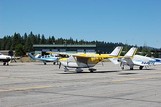 Cessna Skymaster - A rare 1964 Cessna 336 seen at Truckee Tahoe Airport in 2012. The fixed landing gear was later made retractable with the introduction of the 337.