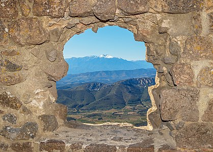 View from the housing of the governor of the Château de Quéribus (Cucugnan, Département Aude, France) on the Canigou (2785m).