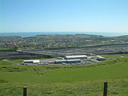 The British terminal at Cheriton in west Folkestone. The terminal services shuttle trains that carry vehicles, and is linked to the M20 motorway.