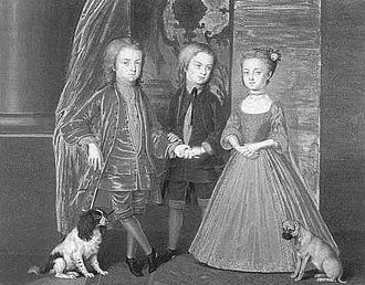 Diana Russell, Duchess of Bedford - Bernard Lens's 1720 portrait of Diana and her brothers Charles and John