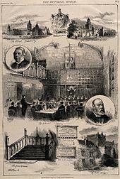 Une gravure sur bois montrant quelques scènes d'internat (étudiants attablés, grand escalier, bâtiment en pierre, etc.)