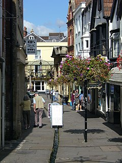 Street scene. Buildings lining narrow lane with central water gully, pedestrians, and hanging baskets.