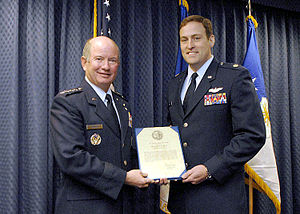 Cheney Award - Air Force Vice Chief of Staff Gen. Duncan J. McNabb presents Maj. Bradley Downs USAF with the Cheney Award in 2007