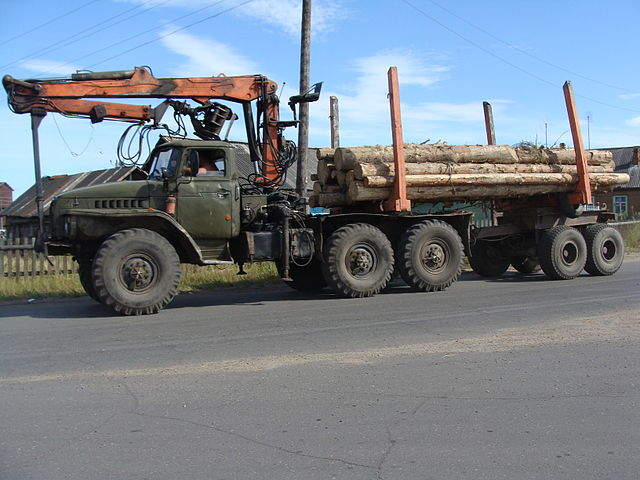 Military logging truck