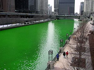 The Chicago River, dyed green for the 2005 St. Patrick's Day celebration.