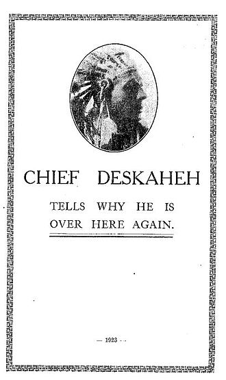 Deskaheh - Chief Deskaheh delivers an address in London on his way to address the League of Nations in Geneva regarding protection of the Iroquois against subjugation by Canada.