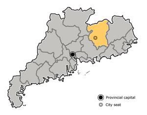 Location of Heyuan in the province