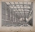 Christ's Hospital, London; the interior of the Hall. Etching Wellcome V0013061.jpg