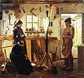 Christen Dalsgaard - To kvinder besøger landsbykunstneren for at se det bestilte gravkors - KMS1752 - Statens Museum for Kunst.jpg