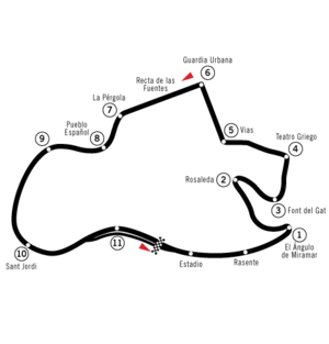 Montjuïc circuit - Route of the Montjuïc Circuit as laid out for the Spanish Grand Prix