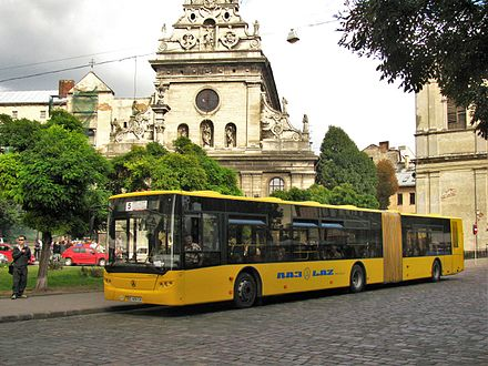 "Large bus ""CityLAZ-20LF"" on route number 5 on the Halytska square CityLAZ-20LF in Lviv, Ukraine - 002.jpg"