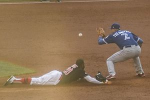 2016 American League Championship Series - Rajai Davis steals second base in the bottom of the third inning of Game 2